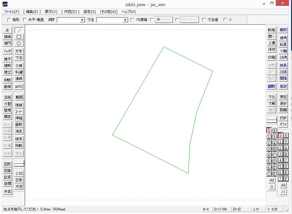 JW CADで敷地を書くことができた