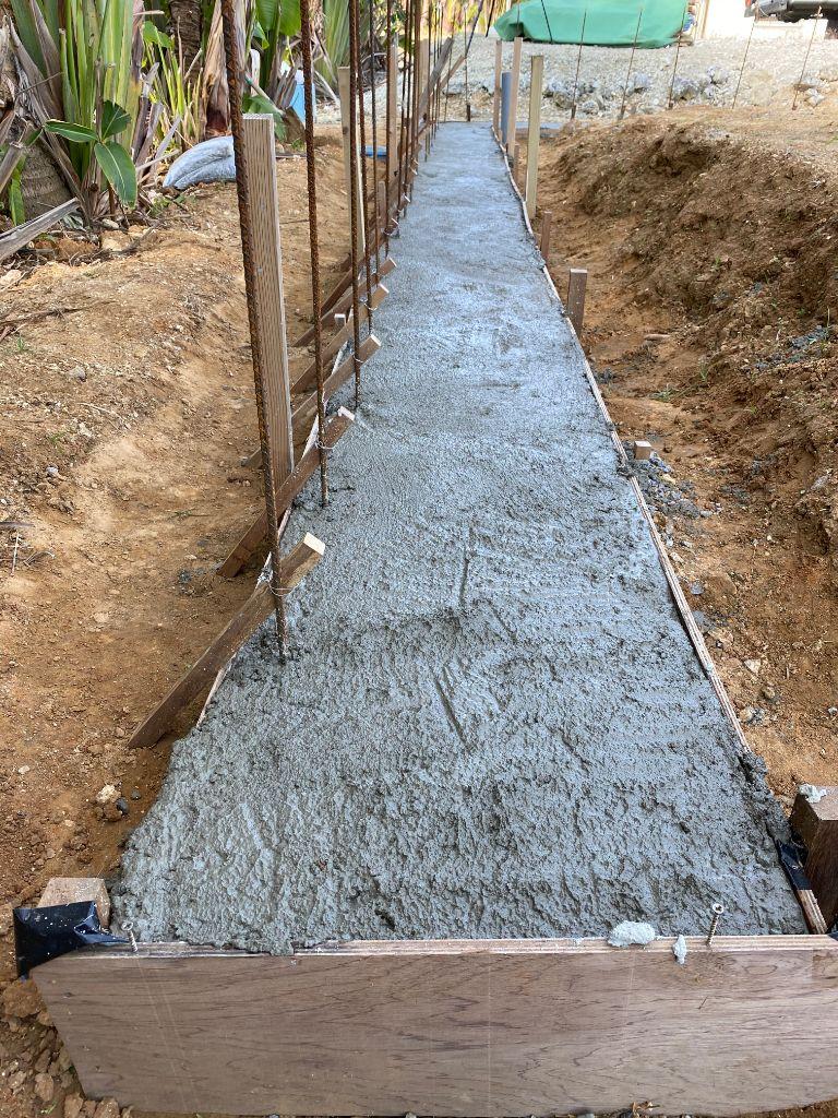 いよいよ土留の基礎、コンクリート打ち込み、単管切断 No.53
